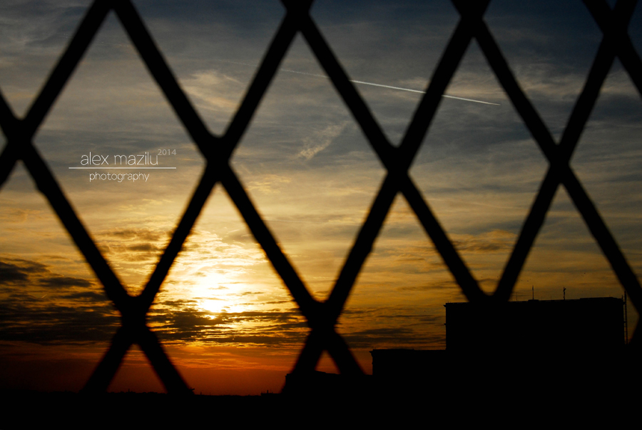 Caged city sunset...